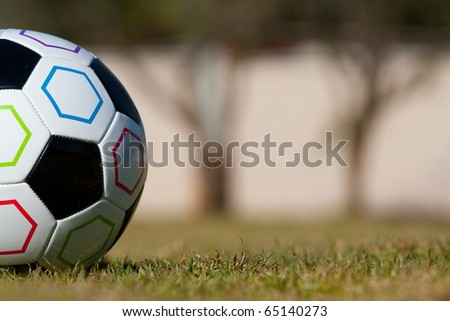 Half of a soccer ball photographed at ground level