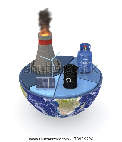 half of an earth globe with a pie chart and various energy sources symbols; energy consumption statistic; Elements of this image furnished by NASA (3d render) - stock photo