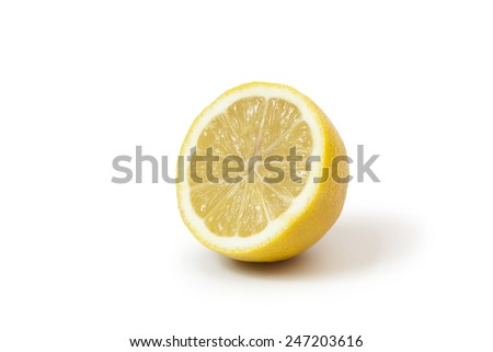 half of an lemon on white background
