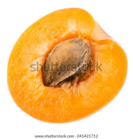 Half of apricot isolated on white background - stock photo