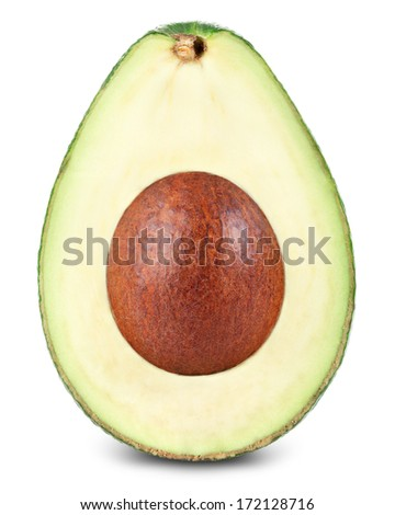 Half of avocado isolated on white
