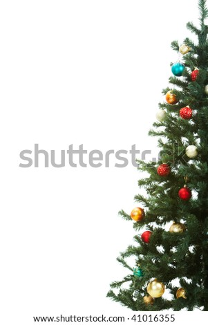 Half of Christmas fir tree decorated with red and golden toy balls - stock photo