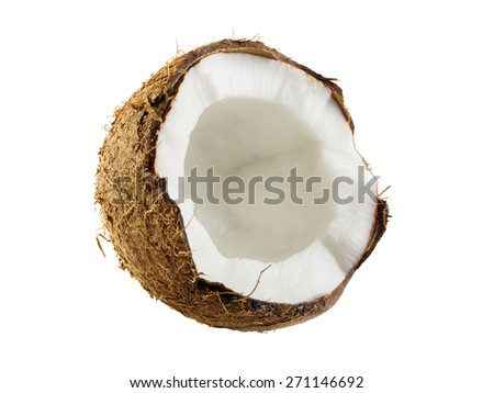 Half of coconut closeup on a white background - stock photo