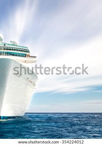 Half of cruise ship in ocean - stock photo
