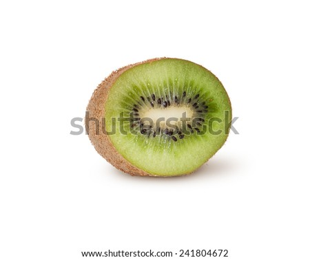 Half Of Juicy Kiwi Fruit Isolated On White Background - stock photo