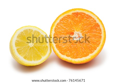 Half of lemon and orange isolated on white - stock photo