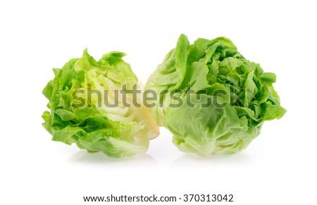Half of lettuce isolated on white background - stock photo