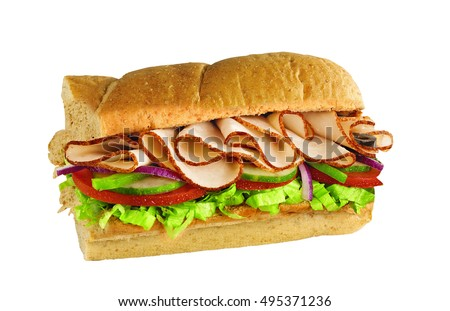 half of long tasty subway baguette sandwich