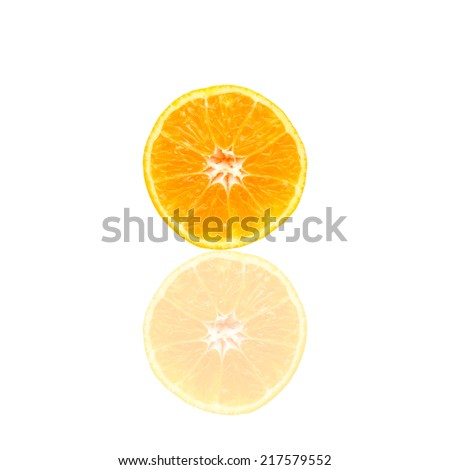 Half of orange isolated on white background
