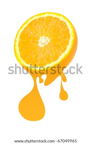 Half of Orange with Juice Drops Isolated on White Background