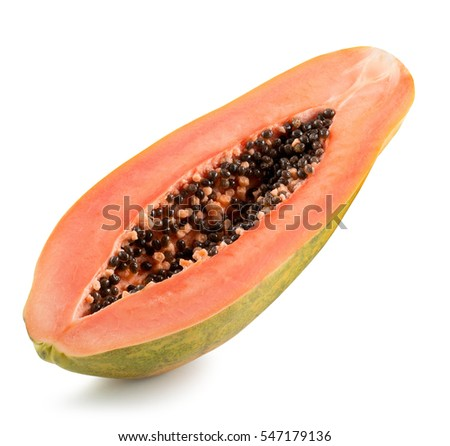 half of papaya isolated on the white background