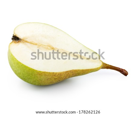 Half of pear isolated on white background - stock photo