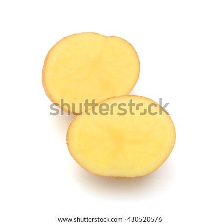 half of potato isolated on white