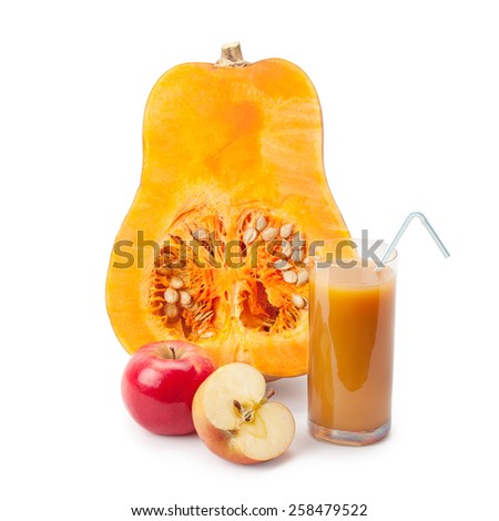 half of pumpkin, pumpkin juice and apple isolated on white background - stock photo