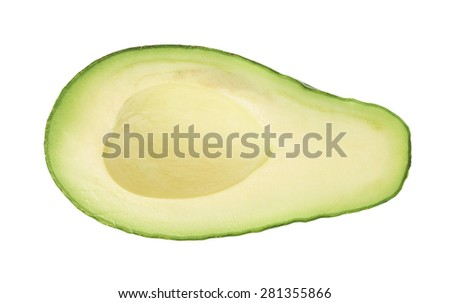 Half of ripe avacado fruit without the pit, composition isolated over the white background - stock photo