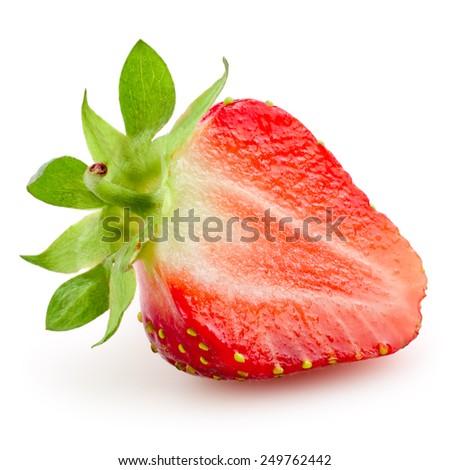Half of strawberry isolated on white background - stock photo