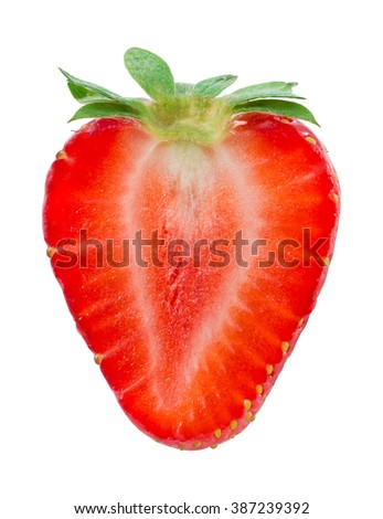 Half of strawberry isolated on white. With clipping path. - stock photo
