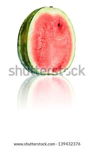 Half of watermelon taken closeup with reflection on white background.