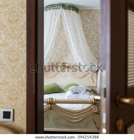 half opened door bedroom hotel bedroom stock photo 394254388
