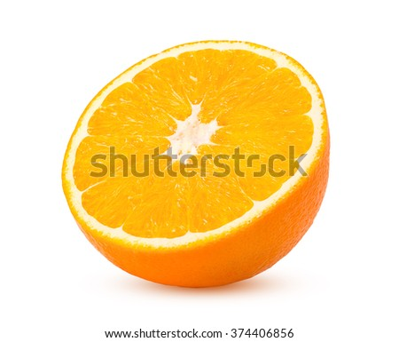 Half orange fruit on white background, fresh and juicy with clipping path - stock photo