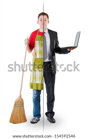 Half ordinary man, half businessman - stock photo