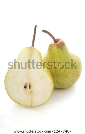 Half pear and full pear isolated on white background/ - stock photo