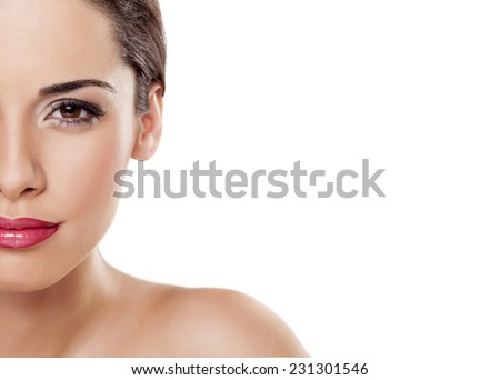 Half portrait of beautiful young woman on a white background - stock photo