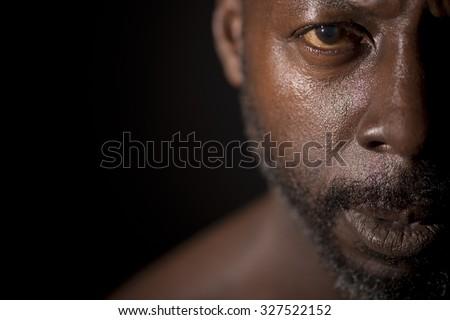 Half Portrait Of Black Man - stock photo
