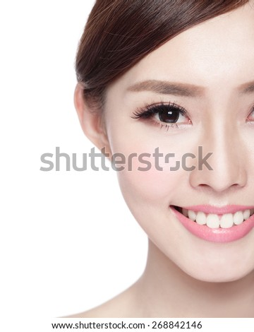 Half portrait of the woman with beauty face, perfect skin and health teeth, she smile to you isolated on white background, asian beauty - stock photo