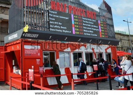 Half price Hut for festival fringe tickets, Edinburgh princes street, Edinburgh Scotland. August 2017