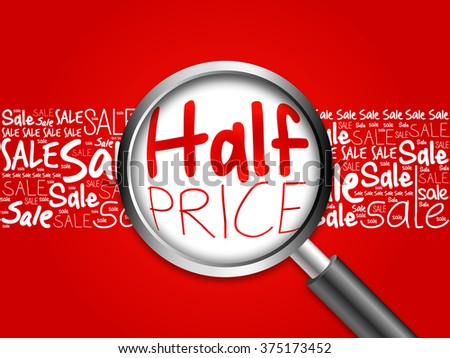 HALF PRICE word cloud background, business concept
