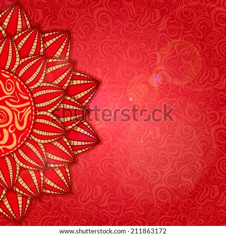 Half Red Flower in the Bottom of the Invitation Card - stock photo
