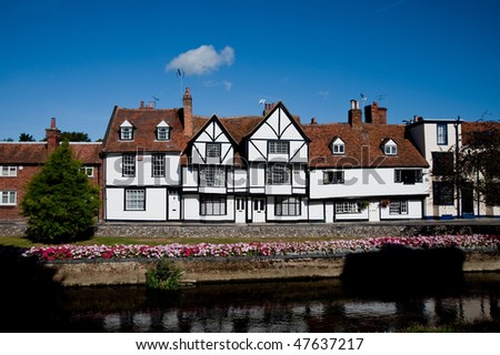 Half-timbered building and Great Stour river in Canterbury