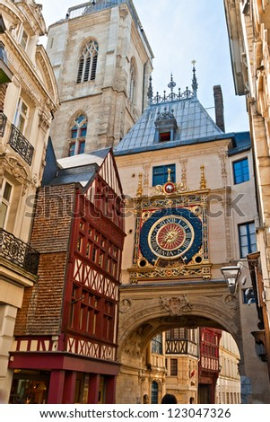 Half-Timbered Houses and Great Clock at Rouen, Normandy, France - stock photo