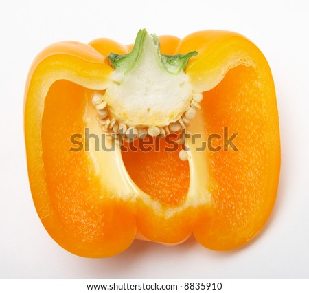 Half Yellow pepper isolated on white - stock photo
