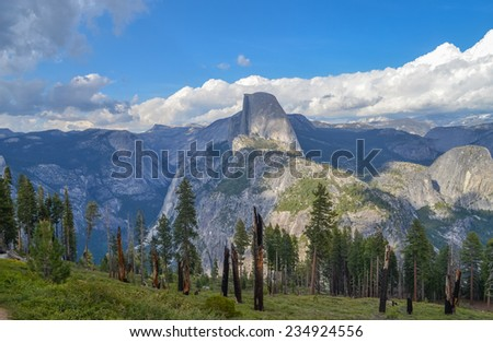 Halfdome from Glacier point, Yosemite national park, California - stock photo
