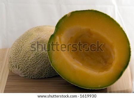 Halfed Cantalope - stock photo