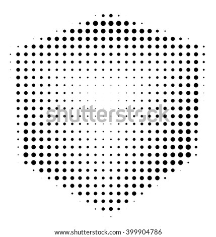Halftone abstract black dotted three-dimensional cube - stock photo