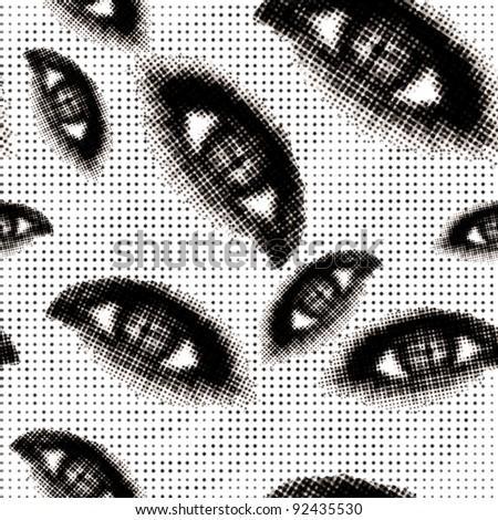 Halftone eyes seamless background - stock photo