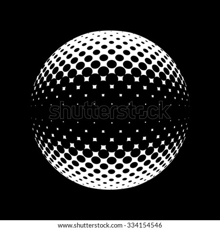 Halftone  logo template. Set of round icon, abstract globe symbol, business concept. Abstract black dotted sphere. Science and tourism, technology or financial background