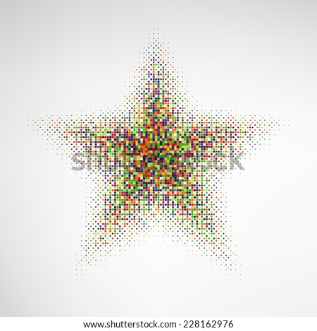 Halftone Star with color square dots.