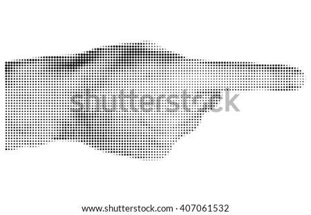 Halftone textured male hand pointing isolated on white background - stock photo