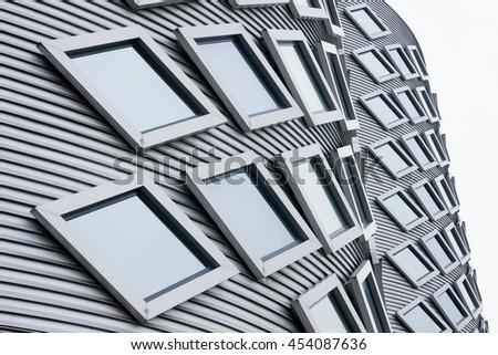 HALFWEG, HOLLAND - JULY 16, 2016 - Detail of double office buildings in Halfweg, The Netherlands. Former sugar silos transformed into modern office buildings. On July 16, 2016 - stock photo