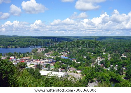 HALIBURTON, CANADA - AUGUST 3, 2015: A view of the town of Haliburton, Canada. - stock photo