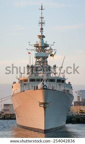 HALIFAX, CANADA - MAY 04, 2013: HMCS Halifax (FFH 330) is a Halifax-class frigate that has served in the Royal Canadian Navy since 1992. - stock photo