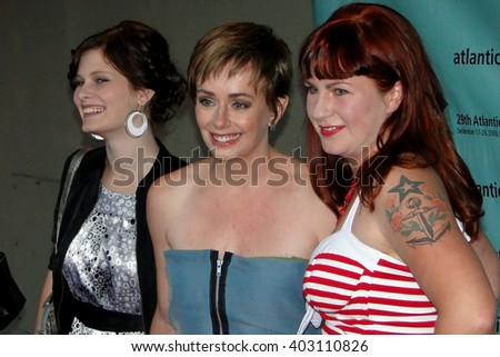 HALIFAX, CANADA - SEP 17, 2009.  Jeanna Harrison, Lucy DeCoutere and Sarah Dunsworth  at Oxford Theatre before premiere of Trailer Park Boys movie Countdown to Liquor Day.                             - stock photo