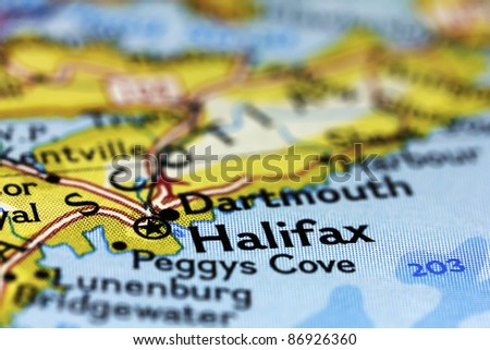 Halifax in Canada on the map. - stock photo