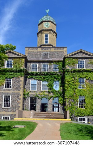 HALIFAX, NOVA SCOTIA, CANADA - AUGUST 5, 2015: The Henry Hicks Academic Administration Building of Dalhousie University, the largest in Atlantic Canada, on a sunny summer day. - stock photo