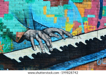 HALIFAX NOVA SCOTIA CANADA JUNE 3 Mural Jazz downtown Halifax on june 03 2014 in Halifax canada. One of the best ways to deter vandals from applying graffiti is to strategically place murals in areas - stock photo