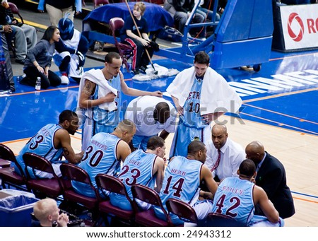 HALIFAX, NOVA SCOTIA - FEB 13. The Halifax Rainmen beat the Detroit Panthers by a score of 100-89 in Premier Basketball League action February 13, 2009 at the Halifax Metro Centre. - stock photo